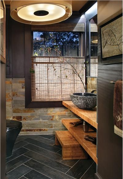 Bath slate stone rustic for Slate tile bathroom ideas